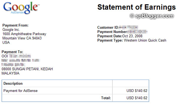 6th Google AdSense payment using Western Union