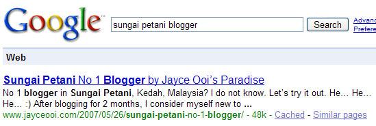 Sungai Petani Blogger == Jayce Ooi