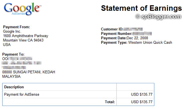 8th Google AdSense payment received